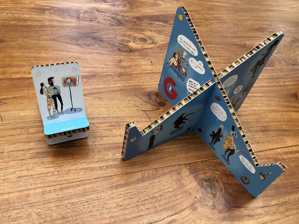 Laptophouder en houder mobiel van karton
