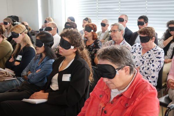 Slaapmaskers tijdens presentatie